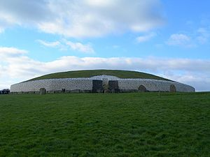 Neolithic British Isles - The Neolithic chambered tomb of Newgrange in County Meath, Ireland, originally constructed circa 3200 BCE, but later reconstructed in the 1970s.