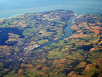 Newport, Isle of Wight - An aerial photograph, showing Newport (bottom left).