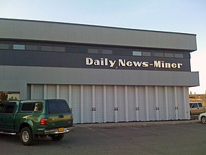 Fairbanks Daily News-Miner - The front of the newspaper's headquarters, also known as the Aurora Building, in May 2009.