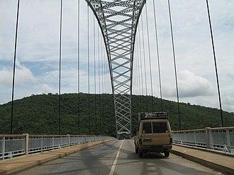 Transport in Ghana - The Adome Bridge crosses the Volta River.