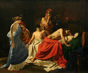 Achilles and Patroclus - Achilles Lamenting the Death of Patroclus (1855) by the Russian realist Nikolai Ge