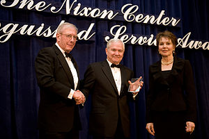 Julie Nixon Eisenhower - Julie Nixon Eisenhower presents the Nixon Center's Distinguished Service Award to Defense Secretary Robert M. Gates, February 2010
