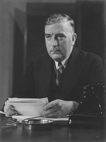 Robert Menzies broadcasting to the nation the news of the outbreak of war, 1939. (See quote to right).
