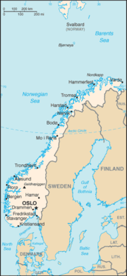 Map of Norway with important cities