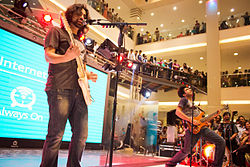 Noori performing at the launch of HBL Always On, Dolmen City Mall, Karachi. - Nov. 2014. Visible from left to right are; Ali Noor and Ali Hamza.