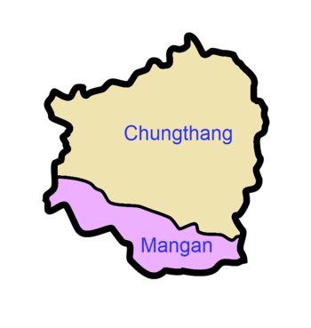 A clickable map of North Sikkim exhibiting its two subdivisions.