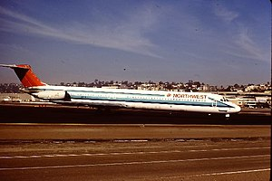 Northwest Airlines Flight 255 - A Northwest Airlines MD-82 (N311RC), similar to the accident aircraft.