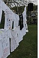 Numerous Clothesline Project t-shirts, with words of anger, joy, and sorrow of sexual assault victims written on it, are displayed at Vogelweh Military Complex, Germany, April 30, 2009, during Sexual Assault 090430-F-UW118-001.jpg