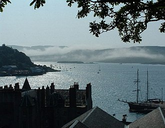 McCaig's Tower - View from the tower over Oban Bay looking towards Kerrera.