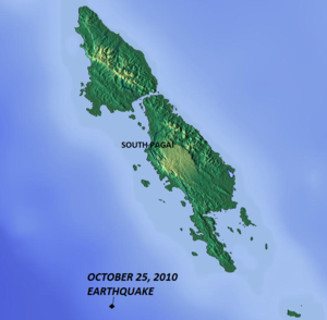 2010 Mentawai earthquake and tsunami - Epicentre in relation to North and South Pagai