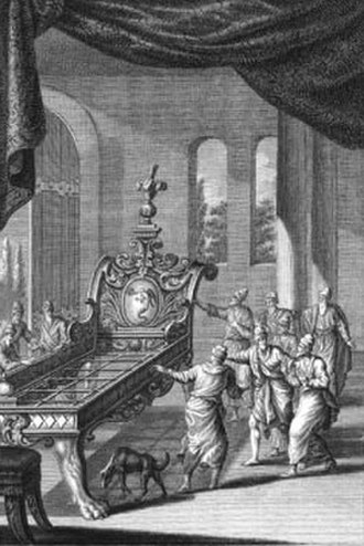 Og - Og's bed (engraving circa 1770 by Johann Balthasar Probst)