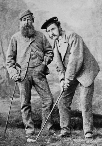 Golf in Scotland - Old Tom Morris with Young Tom Morris ca. 1870-75