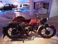Old red colored Typhoon motorcycle combination pic4 Teknikens och Sjöfartens hus, Science and Maritime House.JPG
