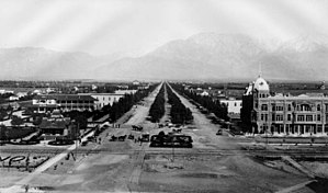 California State Route 83 - Looking north on Euclid Ave., Ontario, 1885