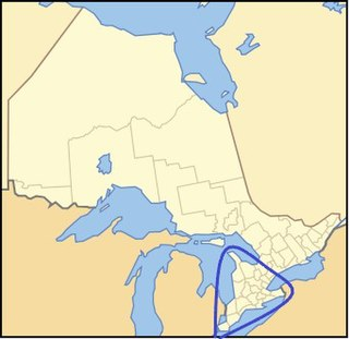 a peninsula comprising the southwestern part of Southern Ontario