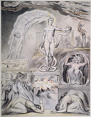 On the Morning of Christ's Nativity - The Overthrow of Apollo and the Pagan Gods (1809), one of William Blake's illustrations of On the Morning of Christ's Nativity