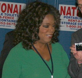 Oprah Winfrey's endorsement of Barack Obama - Winfrey attending Obama's election night rally at Grant Park