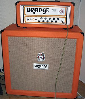 Orange Music Electronic Company - Orange amplifier and cabinet with the distinctive tolex.