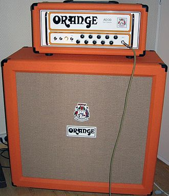 Vintage musical equipment - Orange amplifier and cabinet from the 2000s with a look reminiscent of the 1960s and 70s.