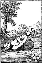Engraving of a naked woman with hands tied to tied on her back floating on water as a trial by ordeal for being a witch