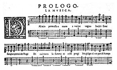 "Four staves of music manuscript, headed ""Prologo. La musica"", with a decorative ""D"" key signature"