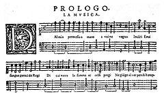 Четыре нотных стана нотной рукописи, озаглавленные «Prologo. La musica», с декоративной подписью клавиши «D».