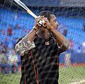 Orioles outfielder Adam Jones takes batting practice before the AL Wild Card Game. (30086440791).jpg