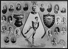 "A collage of photographs of the hockey club players, executives and trophies arranged around an illustration of a hockey player. Below the hockey player is the caption ""Ottawa Hockey Club, Champions of Canada, 1901"". Two trophies are shown, one a cup and the other, a shield."