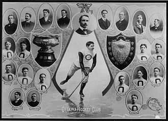Ottawa Senators (original) - The 1901 club, CAHL (left trophy) and Ottawa (right shield) champions. The club wore the same 'O' logo as the Ottawa Football Club that season.