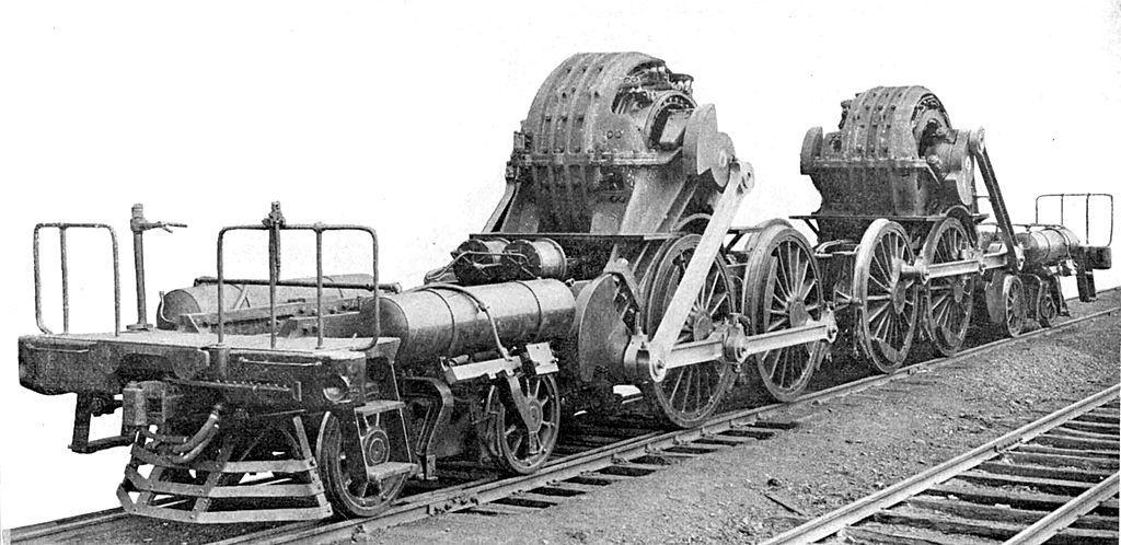 Die Geschichte des elektrischen Antriebs von Schienenfahrzeugen 1024px-PRR_DD1_running_gear