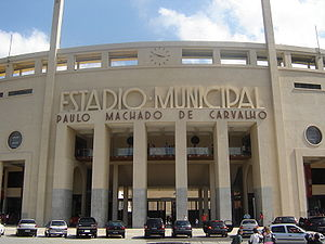 The Amazing Race 9 - The historic Estádio Municipal Paulo Machado de Carvalho in São Paulo's district of Pacaembu is the first Pit Stop of the race.