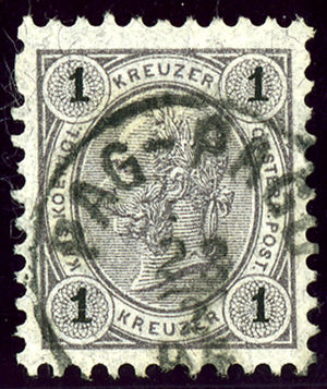 Pag (town) - Austrian stamp bilingual cancelled in 1896