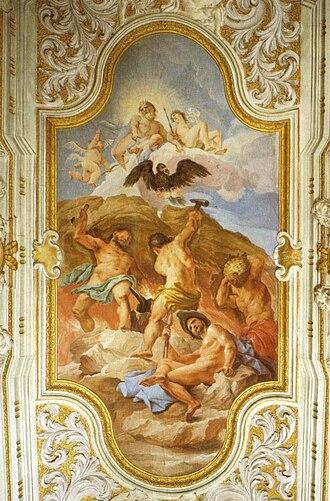 Palazzo Ginori - Forge of Vulcan, ceiling fresco by Gherardini