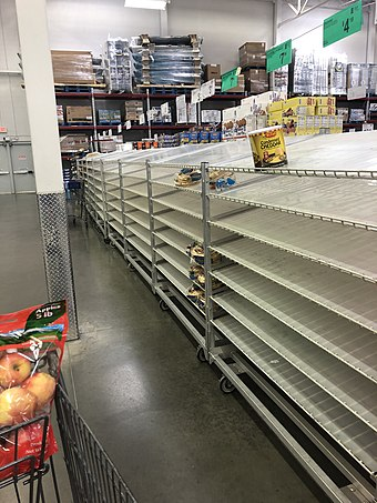 Empty shelves from panic buying at the Sams Club in Lufkin, Texas, on 13 March 2020. Panic buying in Texas in response to the coronavirus pandemic.jpg