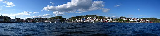 Panoramic of Grimstad taken from the harbour