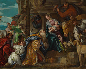 Adoration of the Magi (Veronese) - Detail of the main group. The eight human figures here are matched by eight animals, of six species