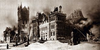 Parliament Hill - The parliament buildings the morning after the fire of 1916