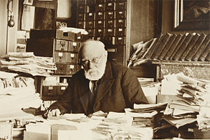 Bibliographer - Paul Otlet, to work in an office built at his home following the closure of the Palais Mondial in June 1937