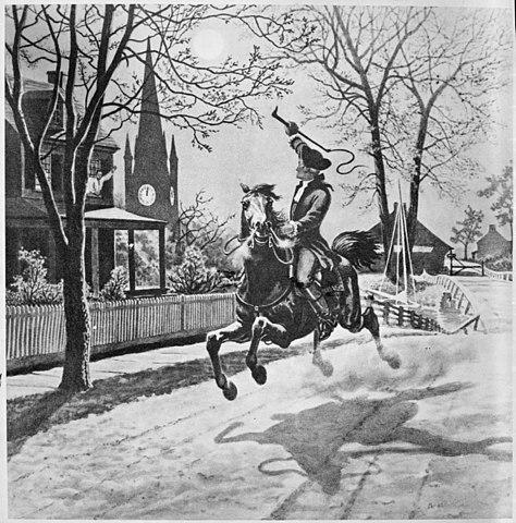 Paul Reveres ritt där han meddelade att kriget börjat