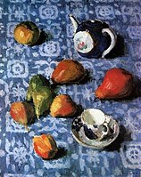 Pears on a Blue Tablecloth by Igor Grabar, 1915.jpg