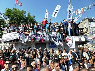 Issues and developments during the Turkish general elections, 2015 - Supporters during a rally of the pro-Kurdish Peoples' Democratic Party (HDP)