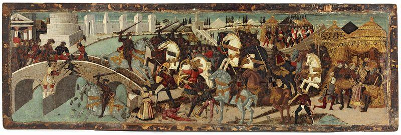 File:Pesellino. Horatius Cocles Defending the Sublician Bridge (cassone panel) ca 1450 Victoria &Albert.jpg