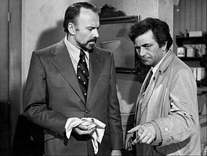 "Columbo - Richard Kiley and Peter Falk in Season 3 Episode 8 titled ""A Friend in Deed"" that aired on May 5, 1974"