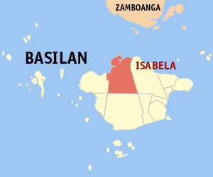 Khadaffy Janjalani - Basilan island, with Isabela City in red.