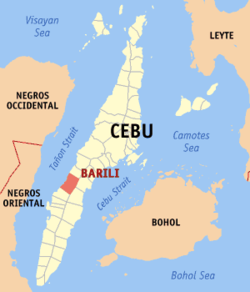 Map of Cebu showing the location of Barili
