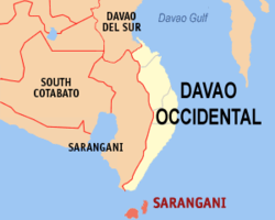 Mapa ti Davao Occidental a mangipakita ti lokasion ti Sarangani, Davao Occidental.