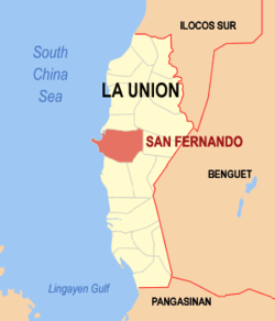 Map of La Union showing the location of San Fernando City
