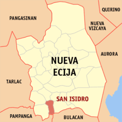 Map of Nueva Ecija with San Isidro highlighted
