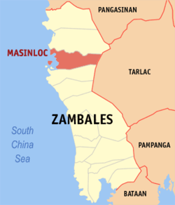 Map of Zambales showing the location of Masinloc