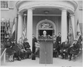 Photograph of President Truman delivering an address at the dedication of Franklin D. Roosevelt's home at Hyde Park... - NARA - 199354.tif